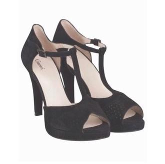shoes black heels high heels ganni t-strap heels peep toe pumps