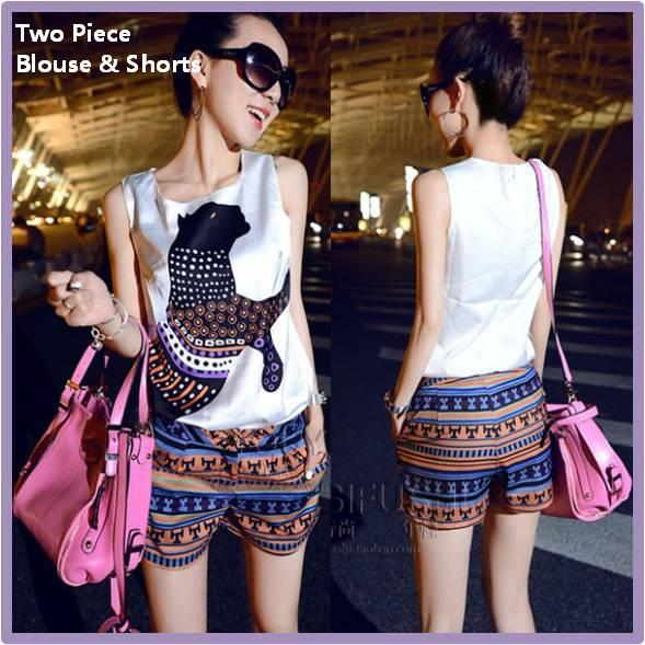 2014 Summer New Hot Women Clothing Set Two Pieces Lady Fashion Vintage Casual Print Shorts Girls National Style Shorts Pants -in Shorts from Apparel & Accessories on Aliexpress.com
