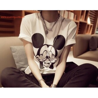 sweater clothes mickey mouse blouse t-shirt white black chic accessories clothing