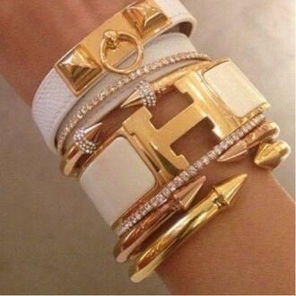 jewels gold white diamonds leather bracelet stacked bracelets gold bracelet cuff bracelet hermes jewelry bracelets