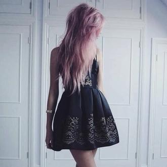 dress black mini gold