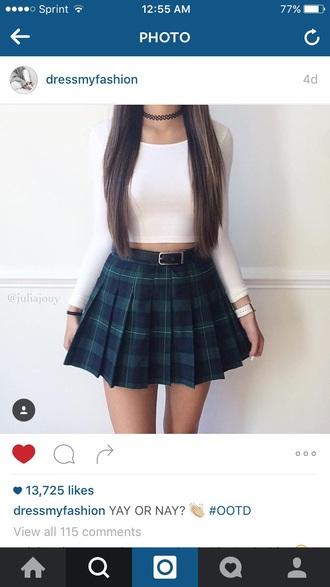 skirt plaid pleated skirt green back to school school uniform shirt white white top white crop tops crop tops