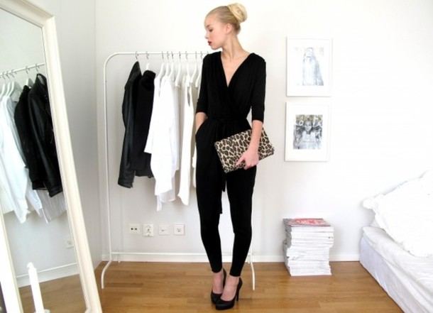 Pants: 3/4 sleeve, black jumpsuit, v neck - Wheretoget