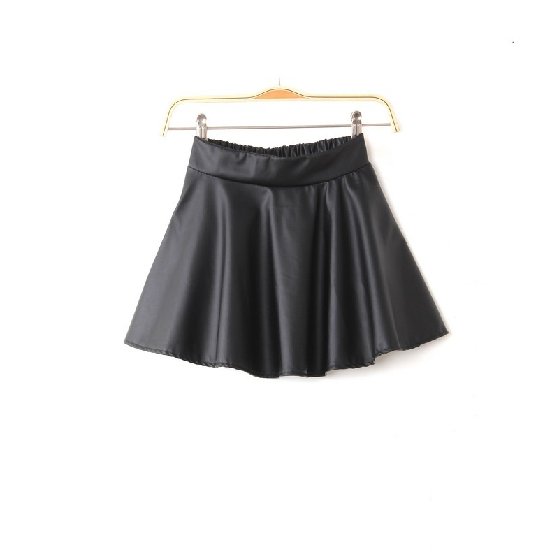 WOMEN HIGH WAISTED FAUX LEATHER SOFT PU SKATER GRUNGE FLIPPY PLEATED SWING SKIRT-in Skirts from Apparel & Accessories on Aliexpress.com