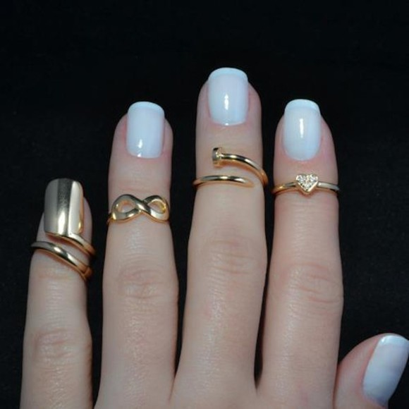 jewels ring forever infinity heart blue gold so beautiful nails