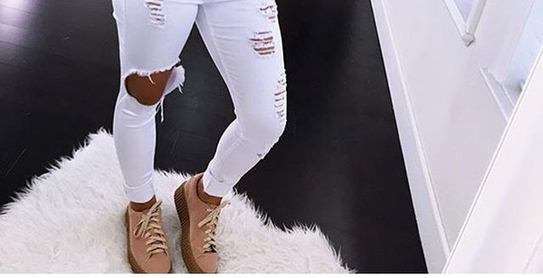Shoes tan brown sneakers toupe tumblr instagram baddies lace style cute fashionnova ...