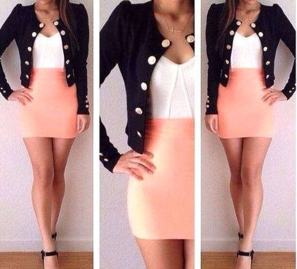 jacket black jacket white dress pink dress