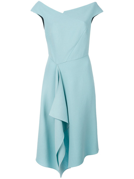 dress women spandex draped blue silk wool