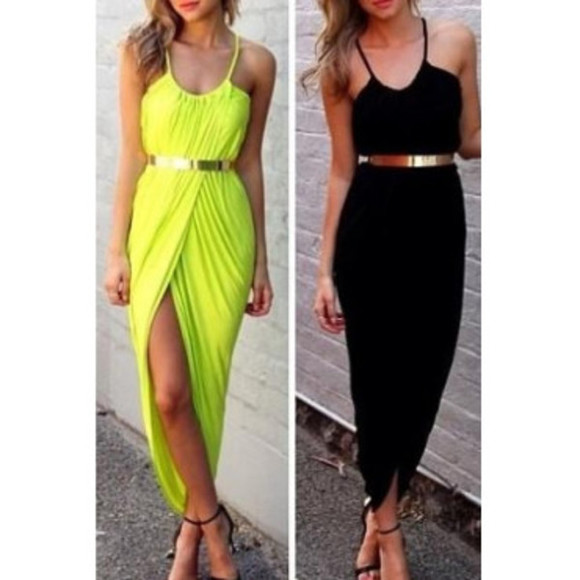 yellow maxi dress yellow maxi dress yellow dress maxi dress black black dress black maxi dress leg slits dress with slit gold gold belt gold belt dress Belt