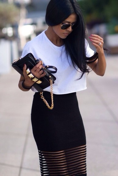 black white clutch skirt sunglasses maxi skirt crop tops