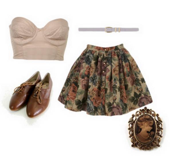 vintage floral tank top shoes jewels skirt