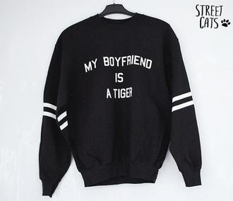 sweater black boyfried tiger chair