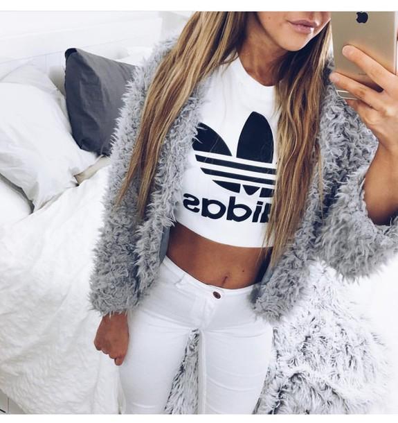 top white adidas crop tops jacket fluffy grey cardigan shirt