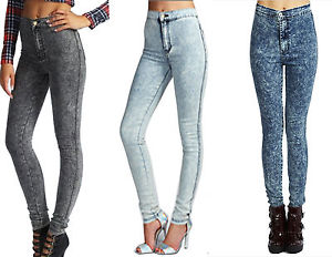 LADIES SUPER SKINNY FIT HIGH WAIST ACID WASH JEANS SIZE 6-14