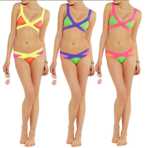 swimwear bikini swimwear neon bikini
