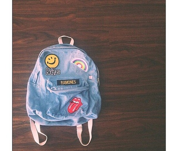 bag backpack patches denim backpack