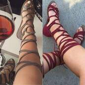 shoes,strappy flats,flat sandals,wine red shoes,beige shoes,flats,sandals,strappy,tan,red,suede,knee high,grey,burgundy shoes,burgundy,strappy sandals,grey shoes,red sandals,sweater,burgandy shoes,suede shoes,knee high gladiator sandals