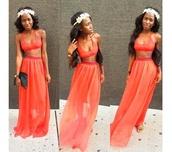 jumpsuit,orange dress,two-piece,bralette,maxi skirt,maxi dress,flower crown,summer outfits