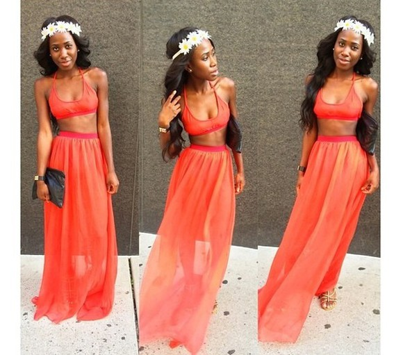 jumpsuit orange dress two-piece bralette maxi skirt maxi dress flower crown summer outfits