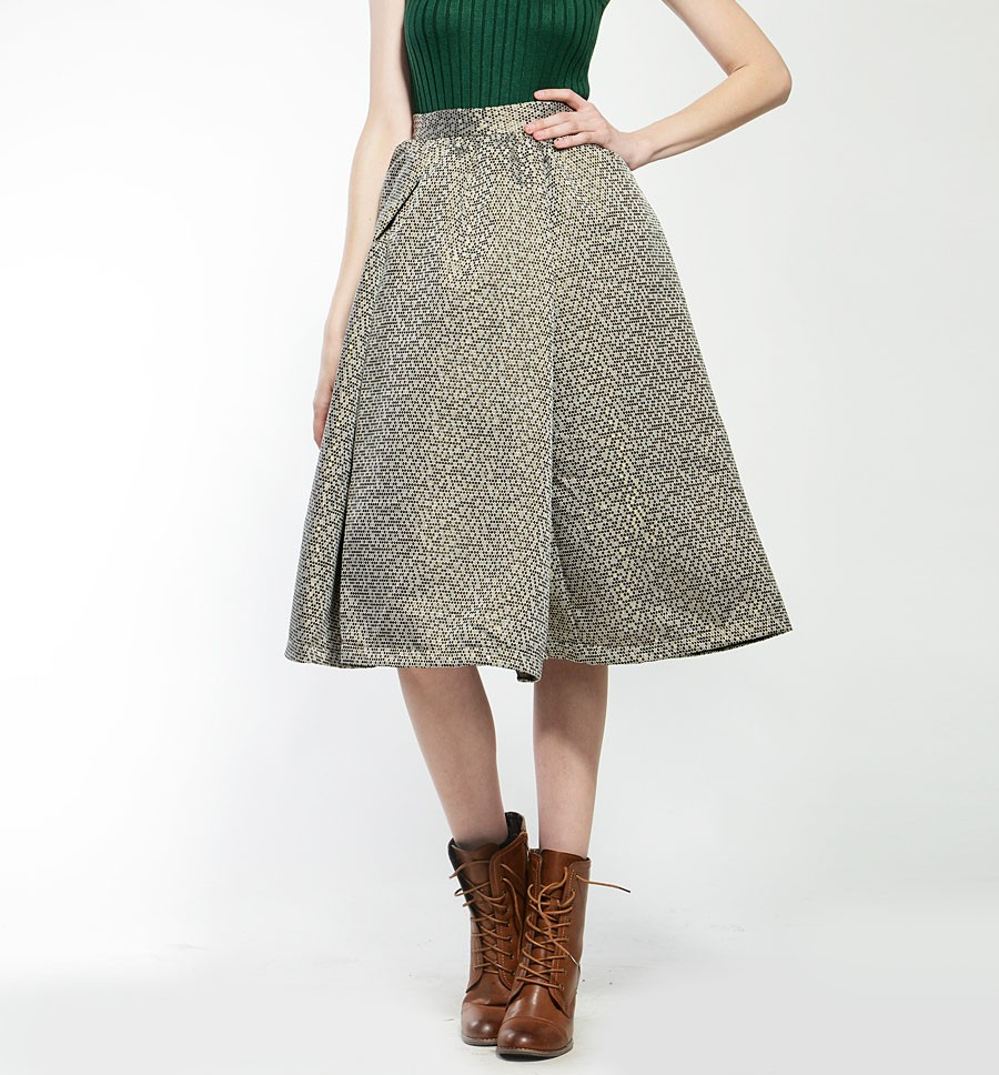 Metallic Jacquard Full Skirt