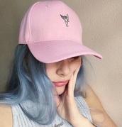 hat,pink,kawaii,girly,grunge,cap,pastel,pastel pink,cute,embroidered,instagram,tumblr,streetwear,angel wings,pale