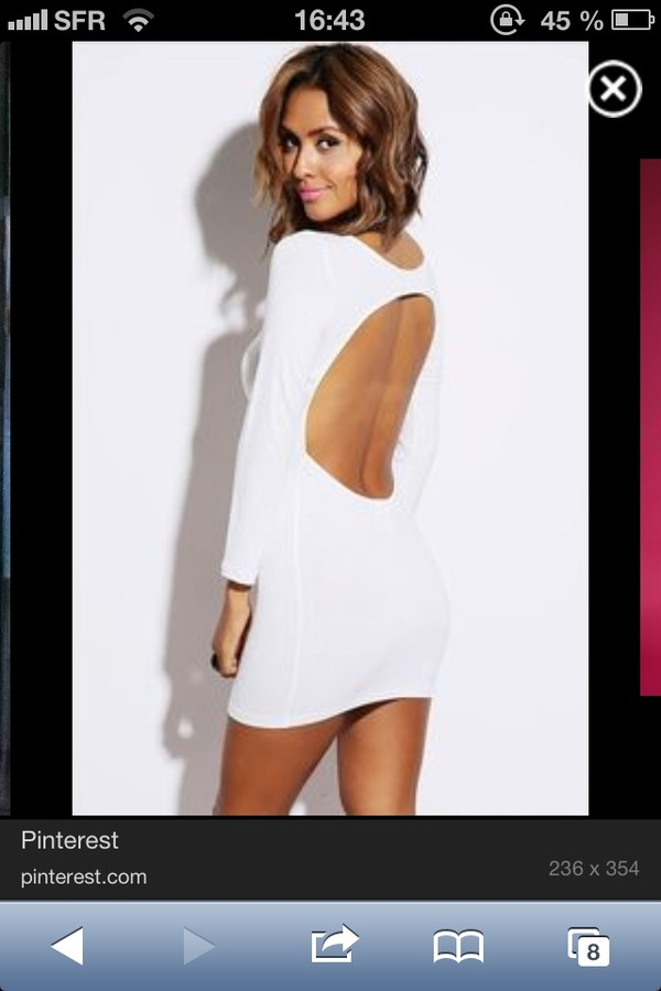 dress bodycon dress white dress open back party long sleeves mini homecoming solid mini dress