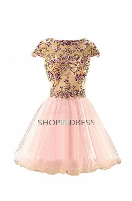 Line scoop knee length chiffon pink prom dress with beaded npd098075 sale at shopindress.com