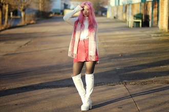 kayla hadlington blogger tartan scarf mini skirt white shoes sweater skirt