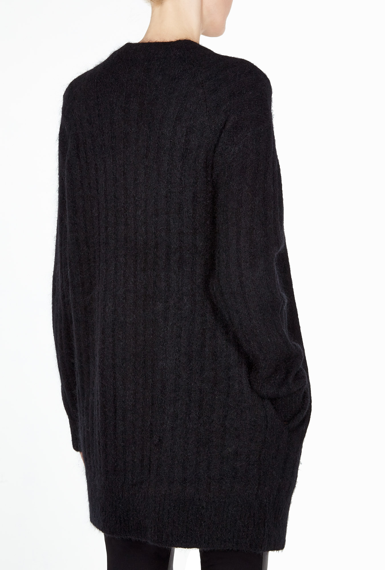 Raya Black Short Rib Cardigan By Acne
