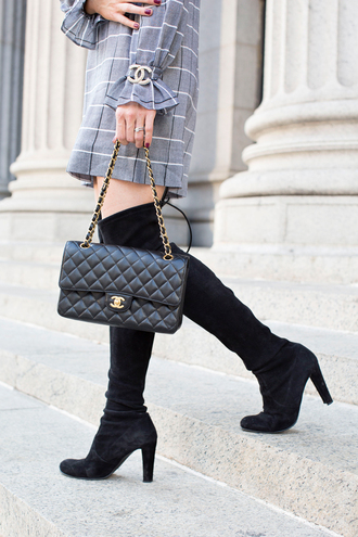 shoes tumblr boots black boots over the knee boots over the knee thigh high boots bag black bag chain bag chanel chanel bag chanel brooch dress grey dress mini dress long sleeves long sleeve dress checkered