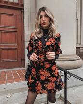 dress,mini dress,printed dress,floral dress,ruffle dress,plunge v neck,knee high boots,tights,turtleneck,chain necklace,sunglasses,shoulder bag