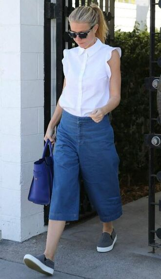 blouse shirt sleeveless gwyneth paltrow cropped pants pants sneakers shoes
