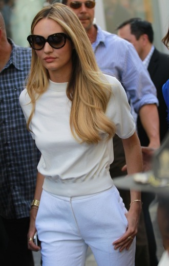 sunglasses candice swanepoel white top classy blonde hair model high waisted pants blouse