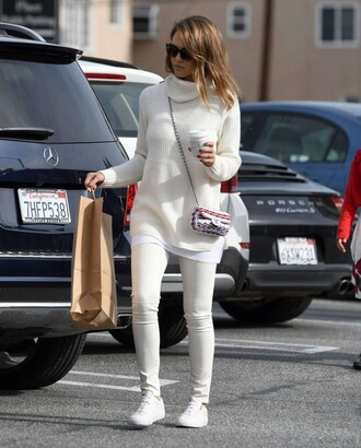 sweater turtleneck jeans jessica alba sneakers fall sweater fall outfits purse white sweater coffee all white everything white winter outfit