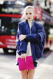 framboise fashion,jacket,blue jacket,bomber jacket,oversized jacket,cable knit,pink bag,pouch