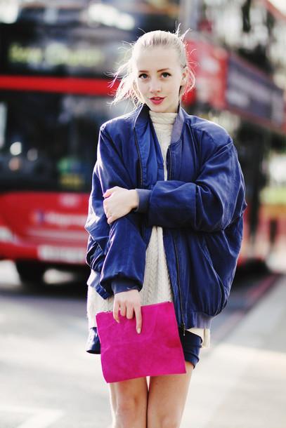 framboise fashion jacket blue jacket bomber jacket oversized jacket cable knit pink bag pouch