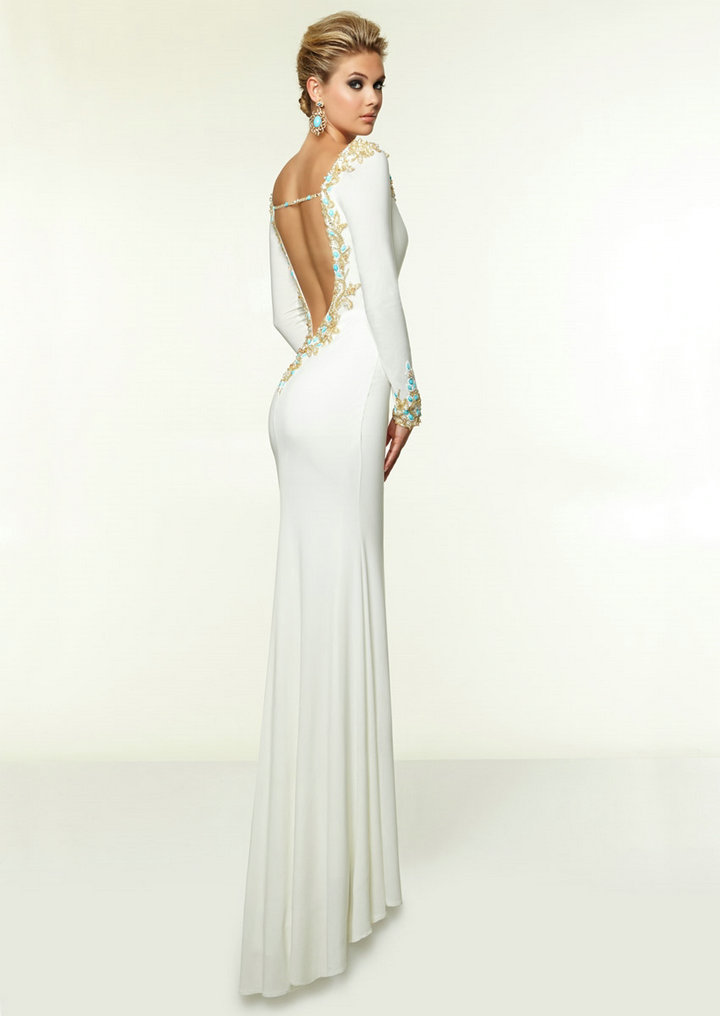 buy corset v neck long sleeve beaded white prom party