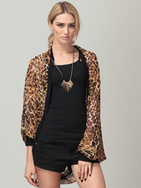 Loose Patchwork Batwing Sleeve Leopard Print Chiffon Shirt - CA$11.01