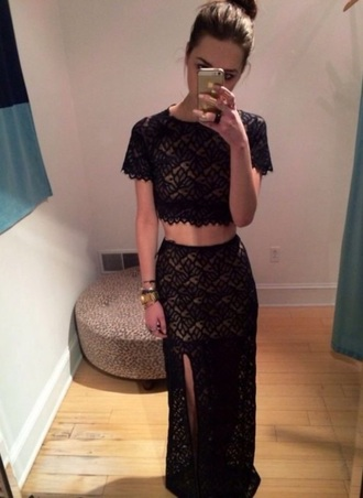 dress crop top and long skirt black lace black dress black lace dress