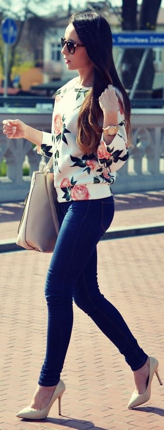 shirt flowers sweater/sweatshirt white sweater floral sunglasses nude high heels jeans sweater rose