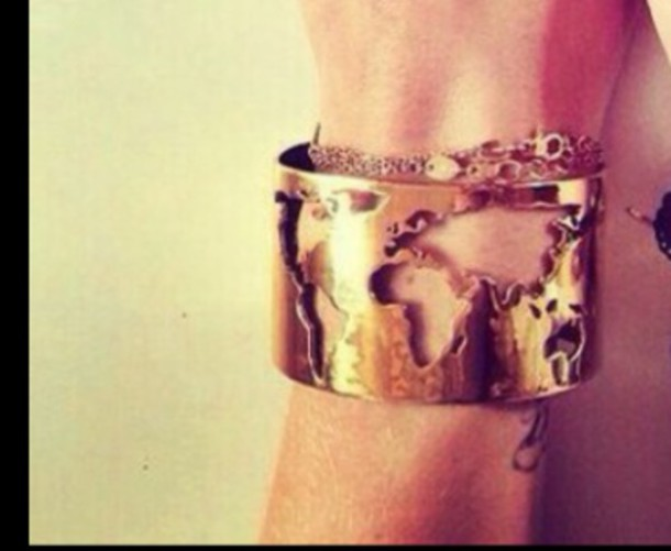 jewels bracelets map monde map print