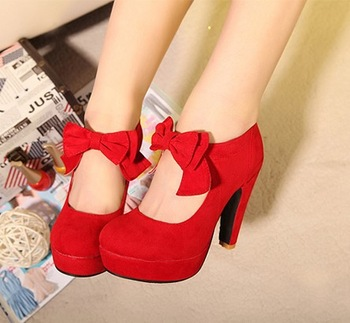 retro style,woman small bowtie platform pumps,lady's sexy high ...