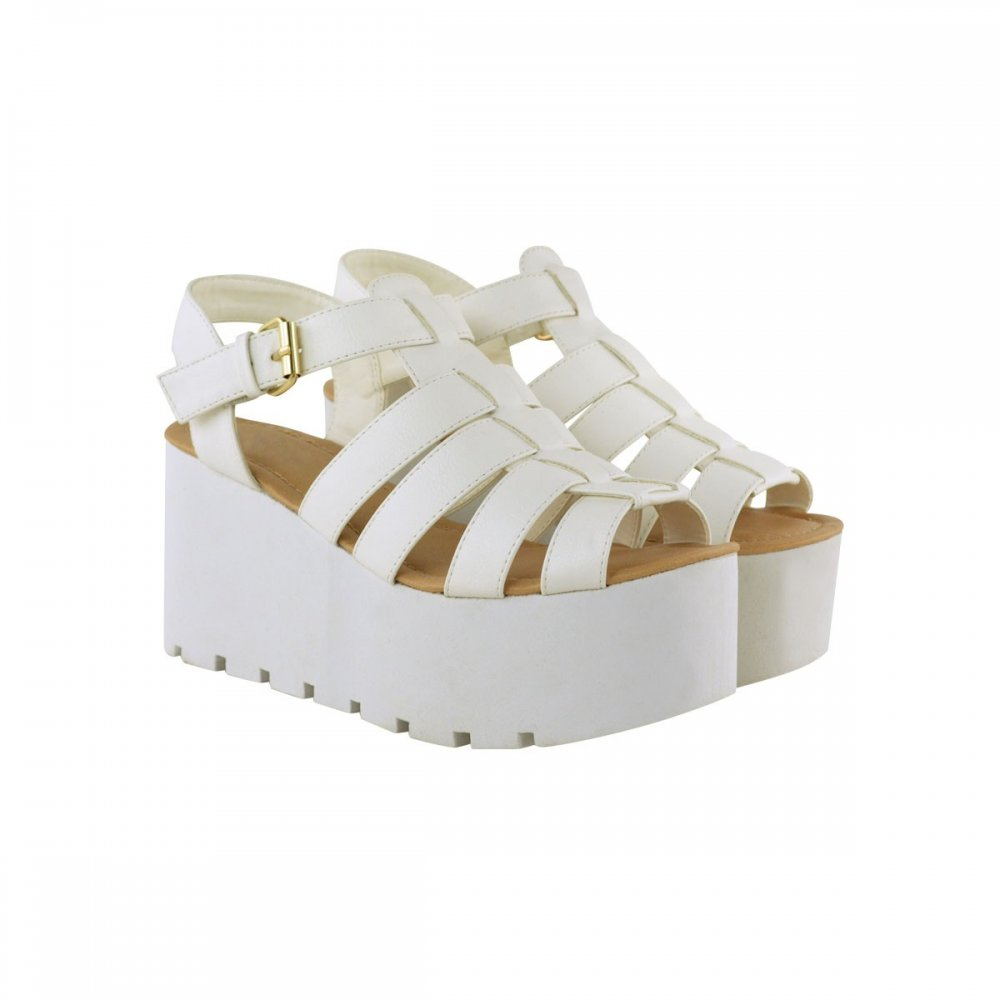 Darcy White Side Buckle Flatform Cut Out Wedges From Parisia Fashion