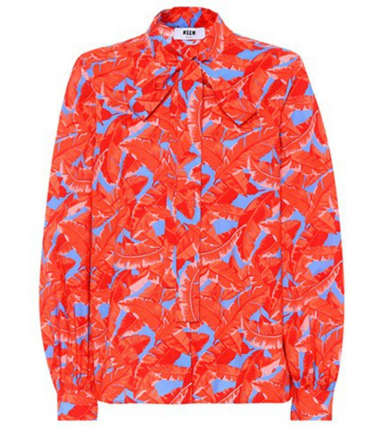 MSGM Leaf-printed cotton blouse in red