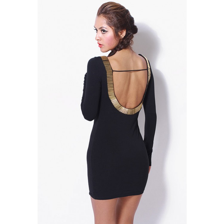Black/gold bejeweled backless long sleeve mini dress