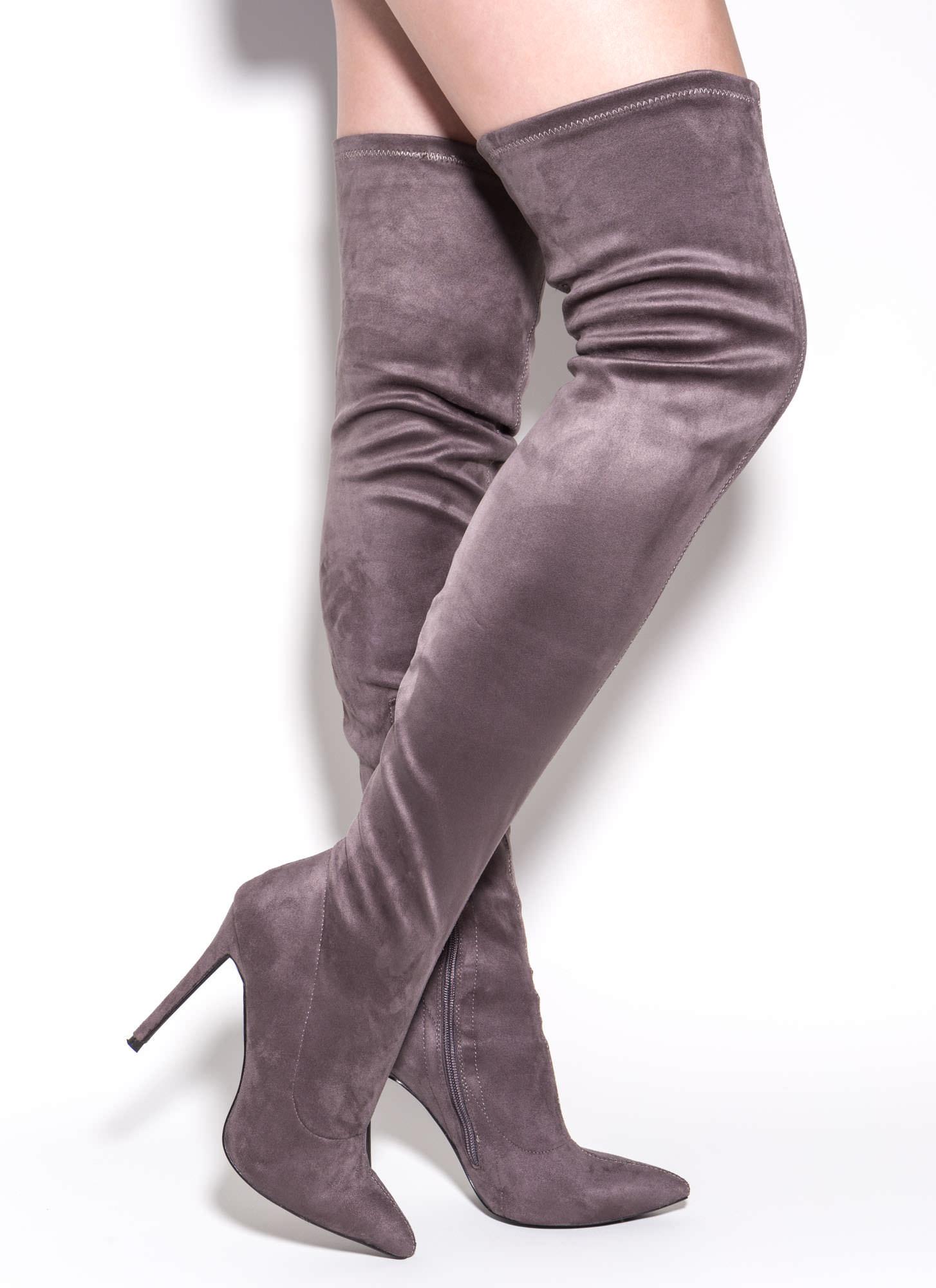Story Chic Thigh-High Boots BLACK GREY MAROON - GoJane.com