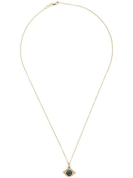 Ileana Makri women necklace pendant gold grey metallic jewels