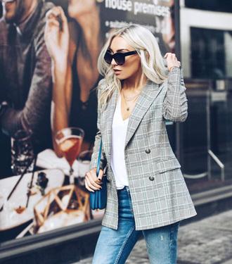 jacket tumblr blazer plaid plaid blazer grey blazer t-shirt white t-shirt sunglasses
