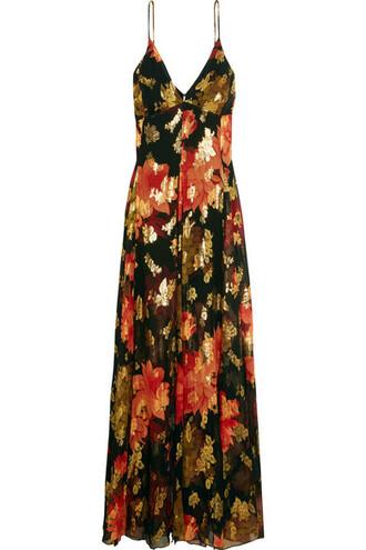gown metallic black silk dress