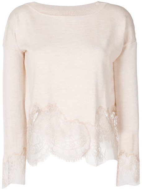 Ermanno Scervino - lace trim knitted top - women - Polyamide/Wool - 42, Nude/Neutrals, Polyamide/Wool
